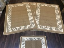 ROMANY GYPSY WASHABLE MATS FULL SET OF 4 MATS/RUGS X LARGE 100X140CM GREEK BEIGE